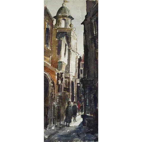 A European Street Scene 1960's Watercolour by Alston Emery | Original Art by Alston Emery | Barewall Art Gallery