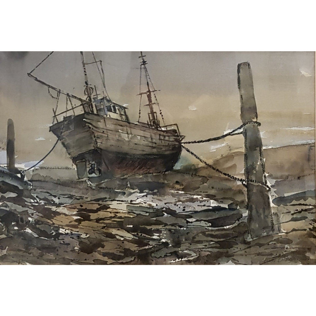 Alston Emery Original Art Boat at Fishguard by Alston Emery