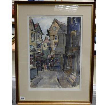 Alston Emery Original Art Boucherie Boulogne Fishguard by Alston Emery