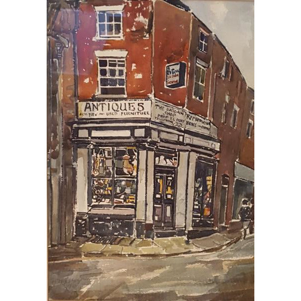 Alston Emery Original Art The Antiques Shop by Alston Emery