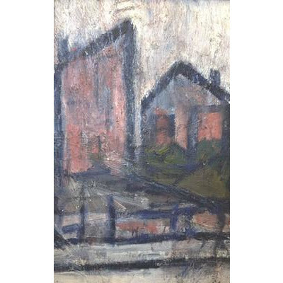 Detached Terrace Oil  by Arthur Berry | Original Art by Arthur Berry | Barewall Art Gallery