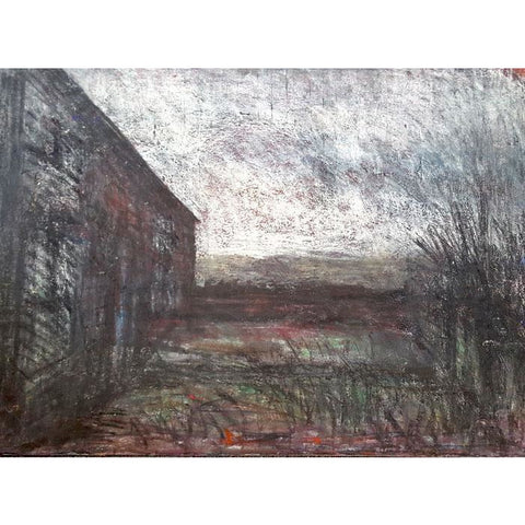 Arthur Berry Original Art Farm Yard circa 1960s by Arthur Berry