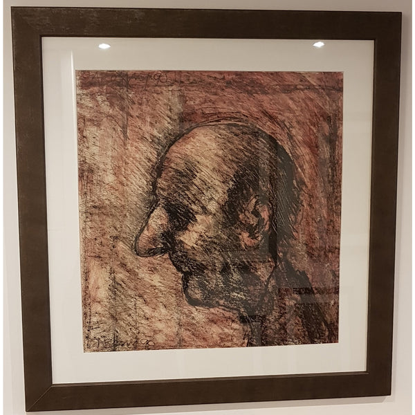 Arthur Berry Original Art Head of an Old Man 1990 Mixed Media Painting by Arthur Berry with frame