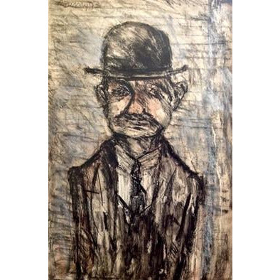 Arthur Berry Original Art Man in a Bowler Hat by Arthur Berry