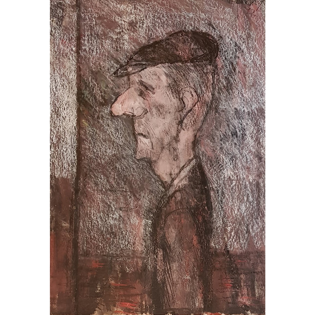 Arthur Berry Original Art Man in Cap, Waiting 1992 by Arthur Berry