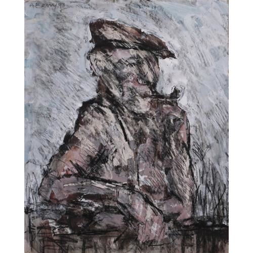 Arthur Berry Original Art Man with Pipe 1993 by Arthur Berry