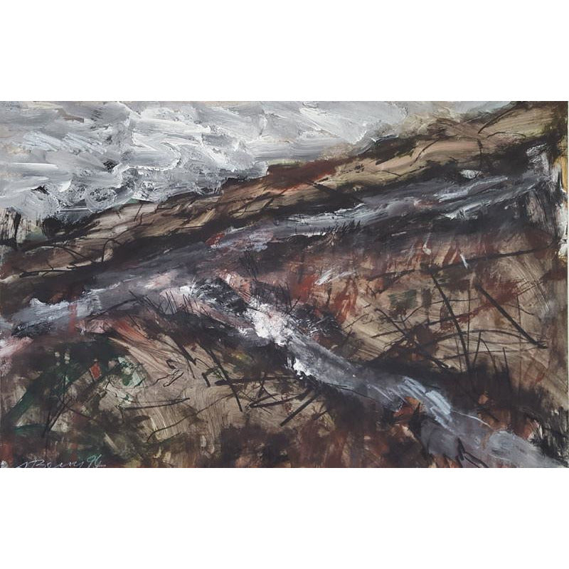 Arthur Berry Original Art Moonlit Crossing 1994 original mixed media painting by Arthur Berry