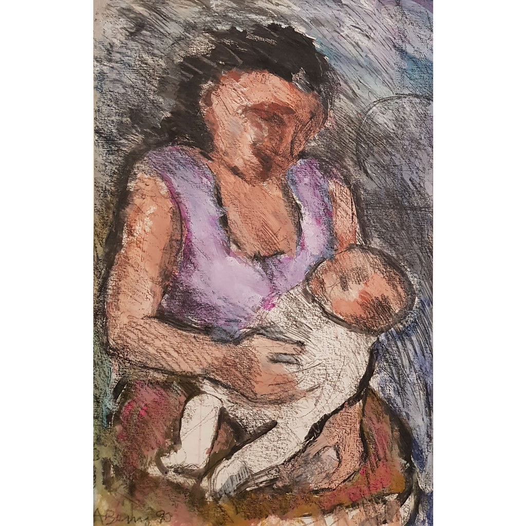 Arthur Berry Original Art Mother and Child 1990 by Arthur Berry