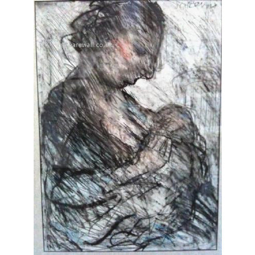 Arthur Berry Original Art Mother and Child