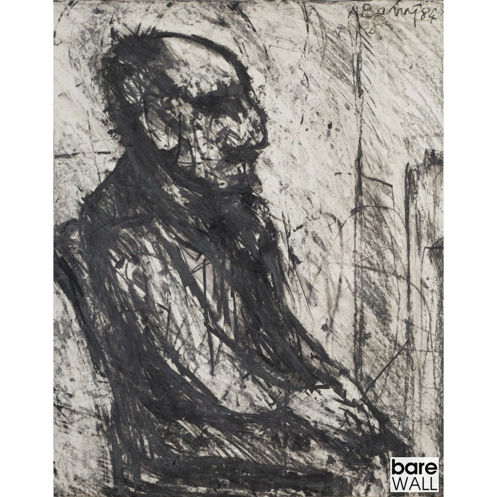 Arthur Berry Original Art Old Man Seated (Black and White) 1984 by Arthur Berry