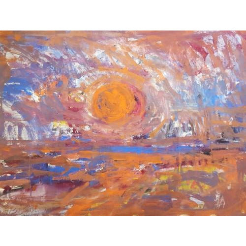 Arthur Berry Original Art Red Sun 1970 original mixed media painting by Arthur Berry