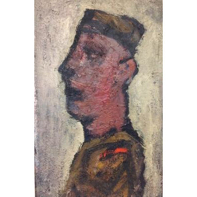 Arthur Berry Original Art Soldier Circa 1970 Oil by Arthur Berry