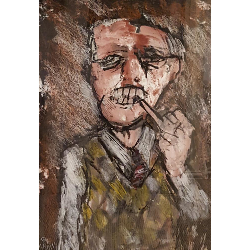 Arthur Berry Original Art The Pipe Smoker 1994 by Arthur Berry