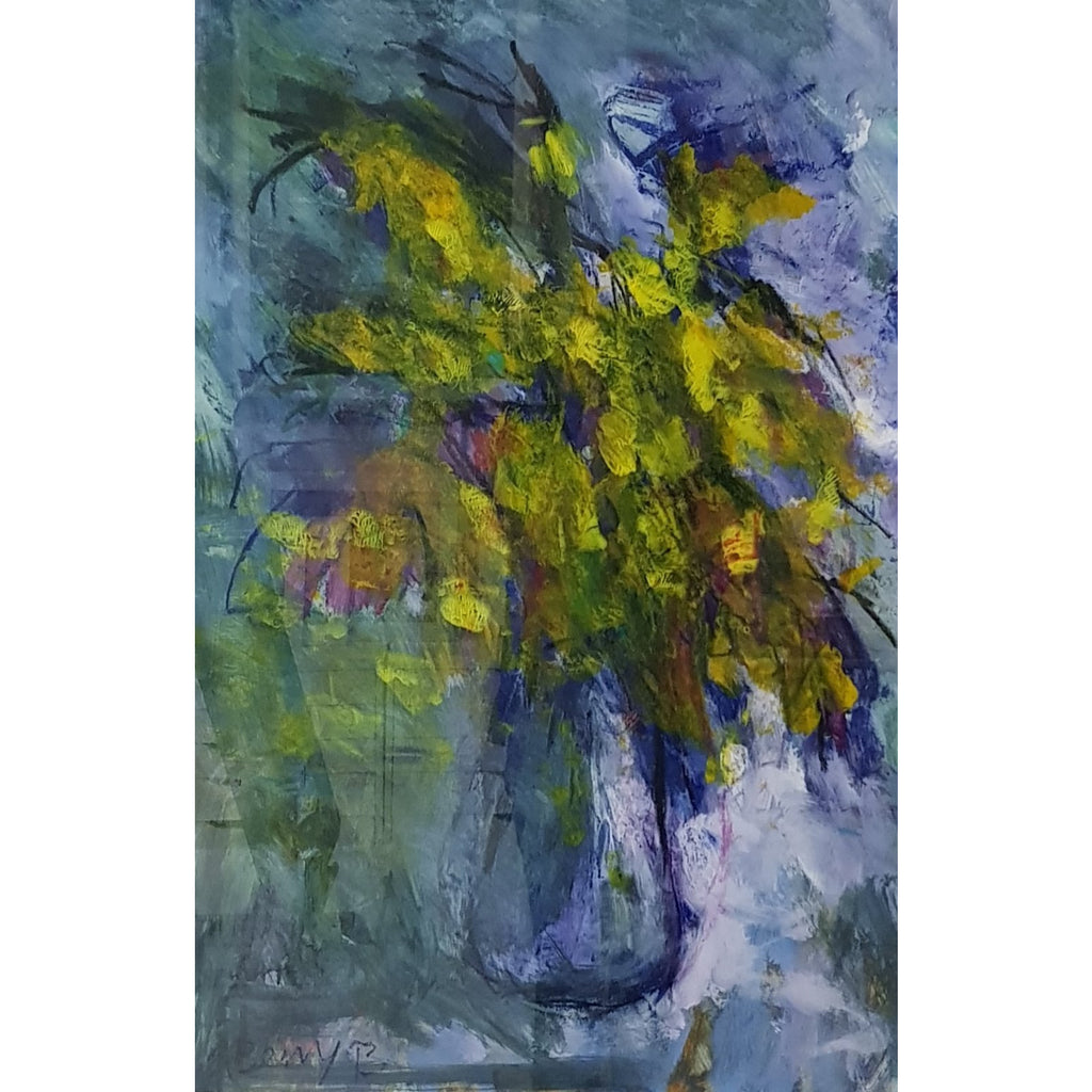 Arthur Berry Original Art Yellow Flowers in a Glass Vase 1993 by Arthur Berry