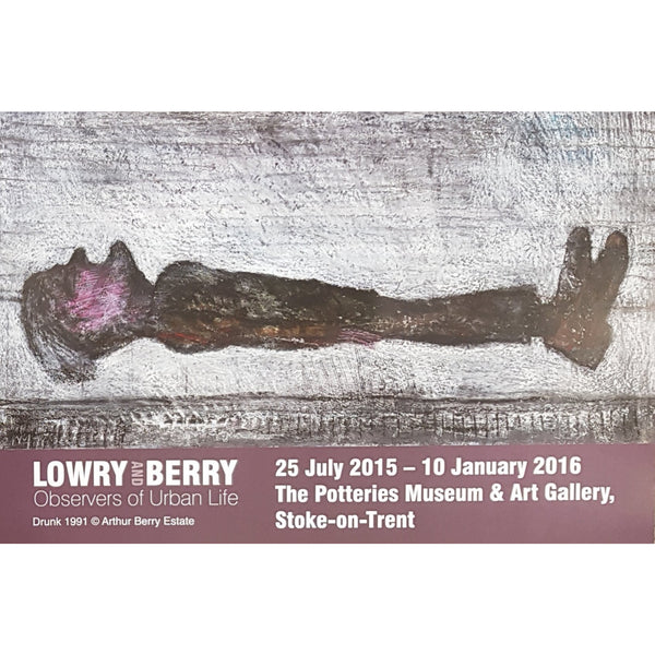 Arthur Berry Posters Drunk A3 Lowry and Berry: Observers of Urban Life Art Exhibition Posters