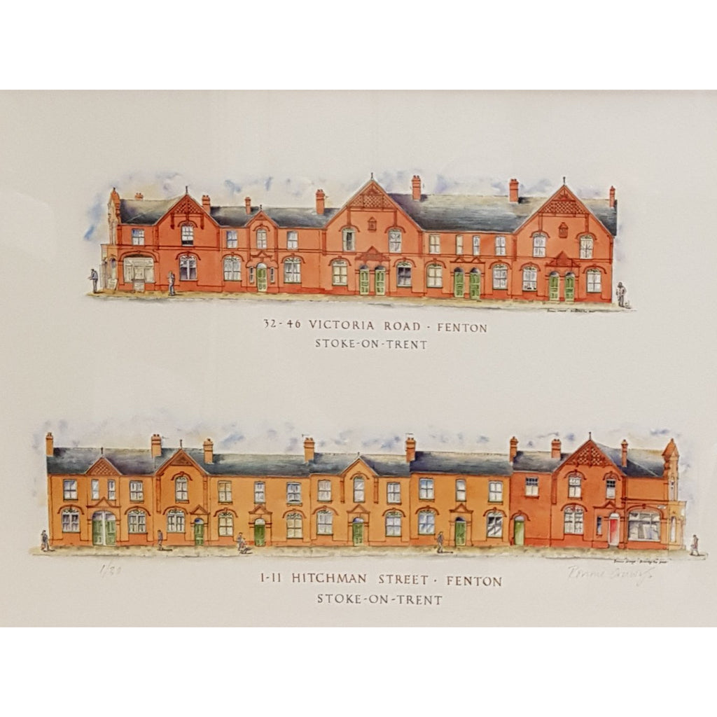 Arthur Berry Print Hitchman Street and Victorian Road Fenton Stoke-on-Trent by Ronnie Cruwys - Drawing the Street