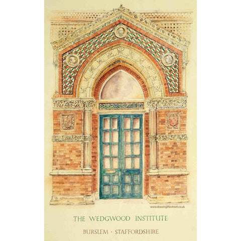 Arthur Berry Print The Doorway of The Wedgwood Institute Burslem Stoke-on-Trent by Ronnie Cruwys - Drawing the Street