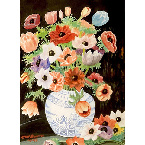 Anemones Watercolour 1943 by CW Brown | Original Art by C W Brown | Barewall Art Gallery