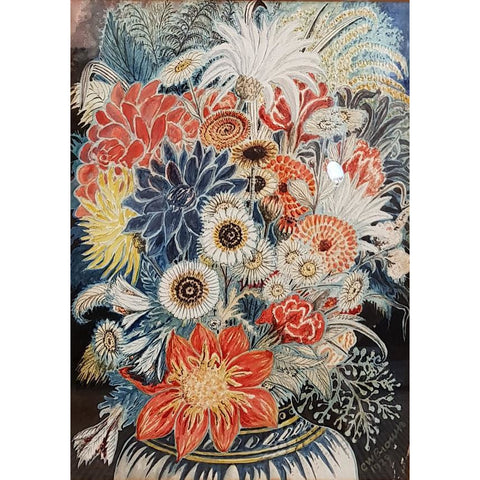 Mixed Flowers Watercolour 1929 by CW Brown