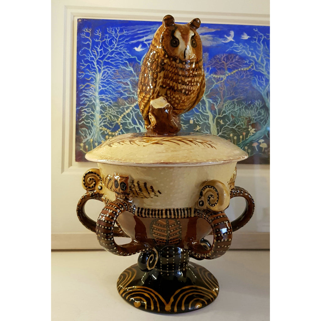 Carole Glover Ceramics CG26 Slipware Owl Lidded Multi-handled Tyg Loving Cup by Carole Glover