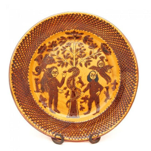 CG27 Thomas Toft Adam and Eve Style Slipware Charger by Carole Glover | Ceramics by Carole Glover | Barewall Art Gallery