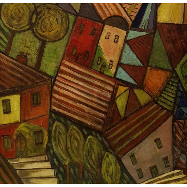 DH14 Suburbia I Oil by Derek Higginson | Original Art by Derek Higginson | Barewall Art Gallery
