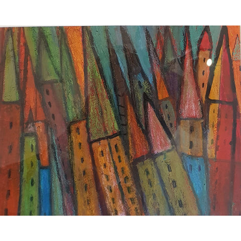 DH41 Abstract Towers mixed media by Derek Higginson | Original Art by Derek Higginson | Barewall Art Gallery