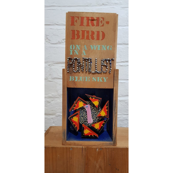EM28 Fire Bird On A Wing In A Pointilist Blue Sky by Edward MacKenzie | Original Art by Edward Mackenzie | Barewall Art Gallery