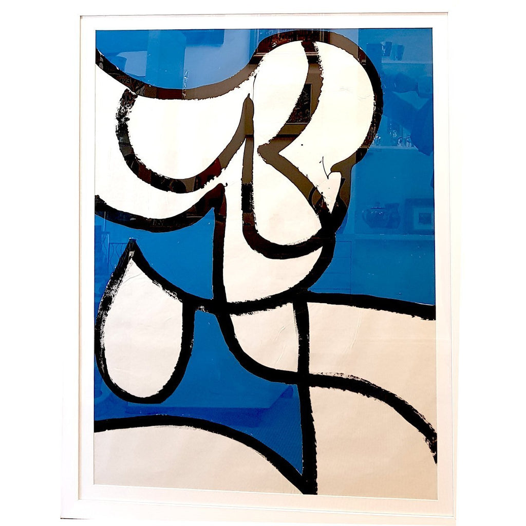EN016P Abstracted Figure on Blue c1960 by Enos Lovatt | Original Art by Enos Lovatt | Barewall Art Gallery