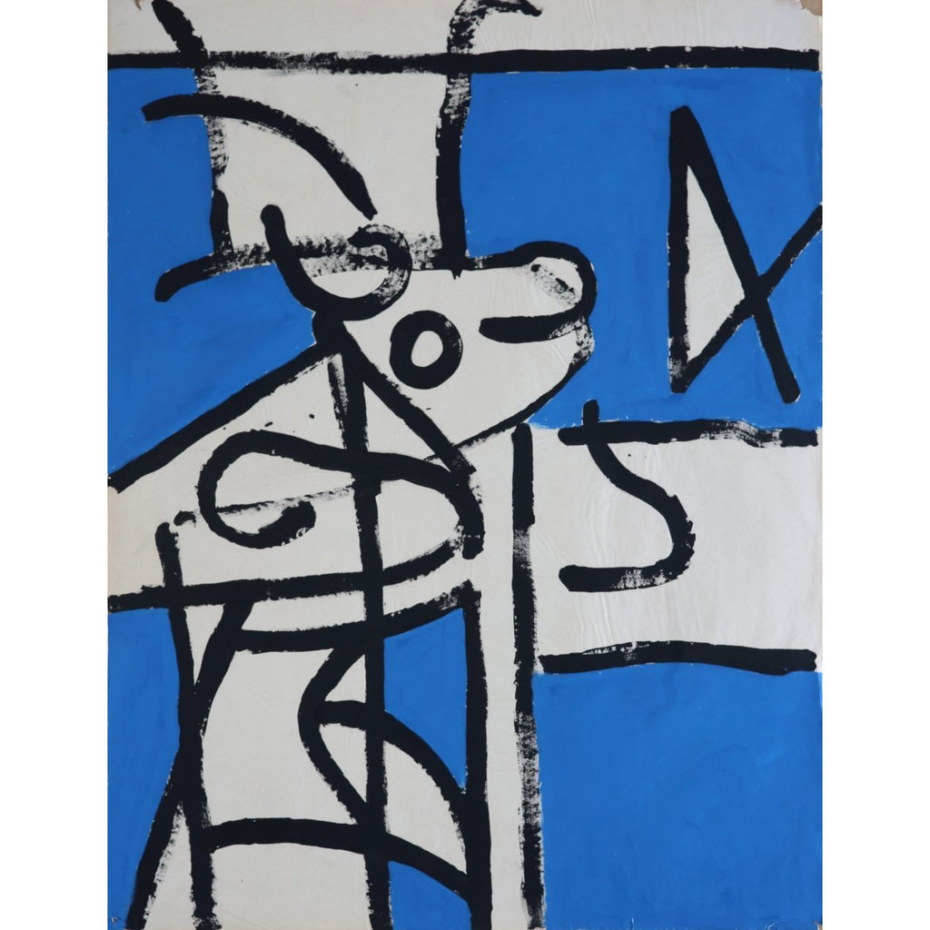 EN018P Abstracted Horses Heads c1960 by Enos Lovatt | Original Art by Enos Lovatt | Barewall Art Gallery