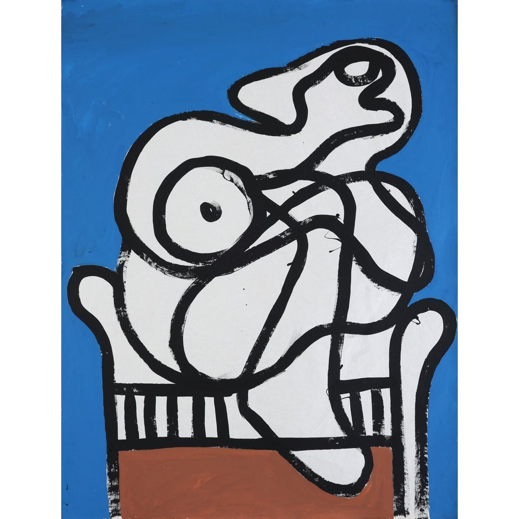 EN019P Seated Nude in Blue Room c1960 by Enos Lovatt | Original Art by Enos Lovatt | Barewall Art Gallery