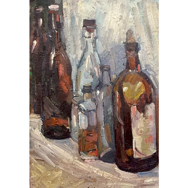 EN01Oil Still Life Bottles I c1950s by Enos Lovatt | Original Art by Enos Lovatt | Barewall Art Gallery
