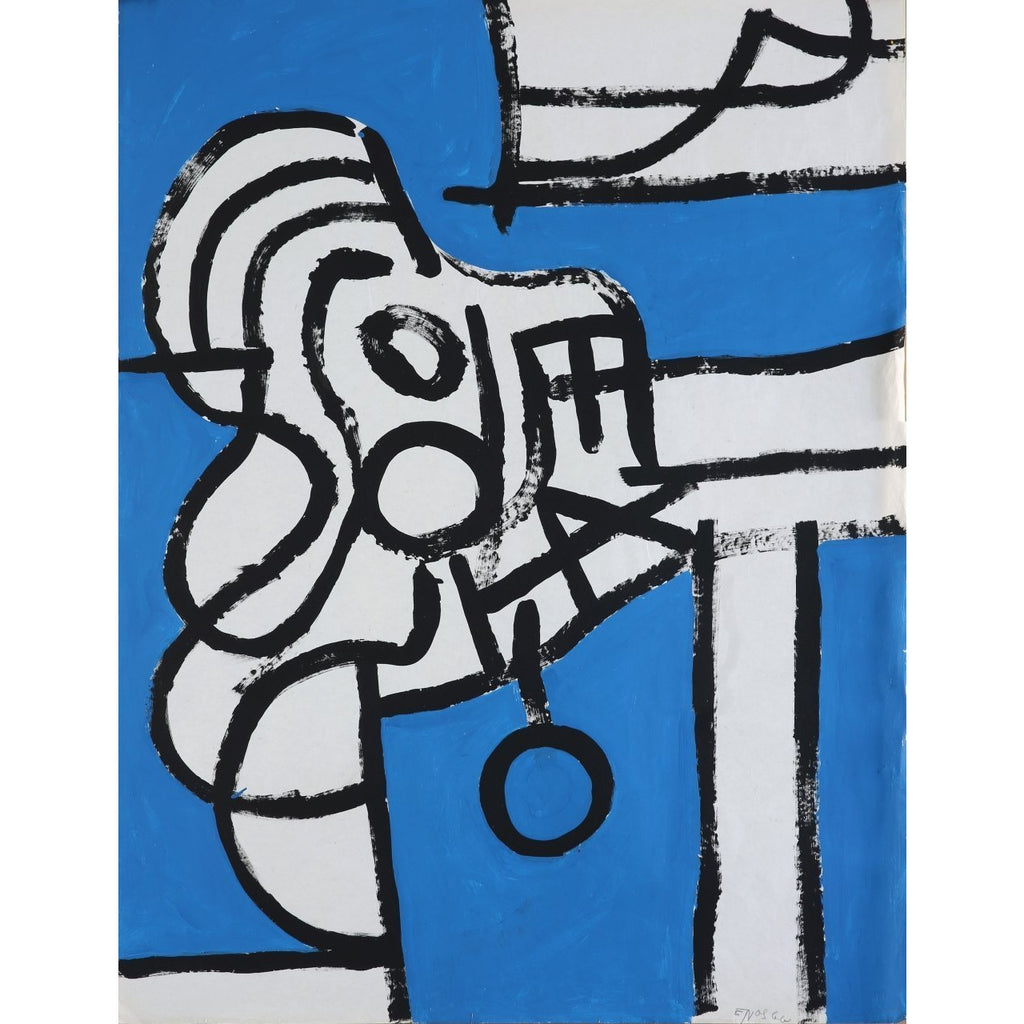 EN020P Abstract Kneeling Figure c1960 by Enos Lovatt | Original Art by Enos Lovatt | Barewall Art Gallery