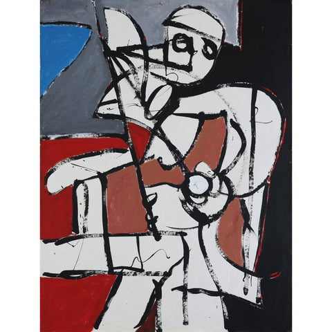 EN022P Abstract Musician c1960s by Enos Lovatt | Original Art by Enos Lovatt | Barewall Art Gallery