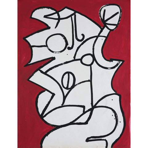 EN023P Abstract Head on Red c1960s by Enos Lovatt | Original Art by Enos Lovatt | Barewall Art Gallery