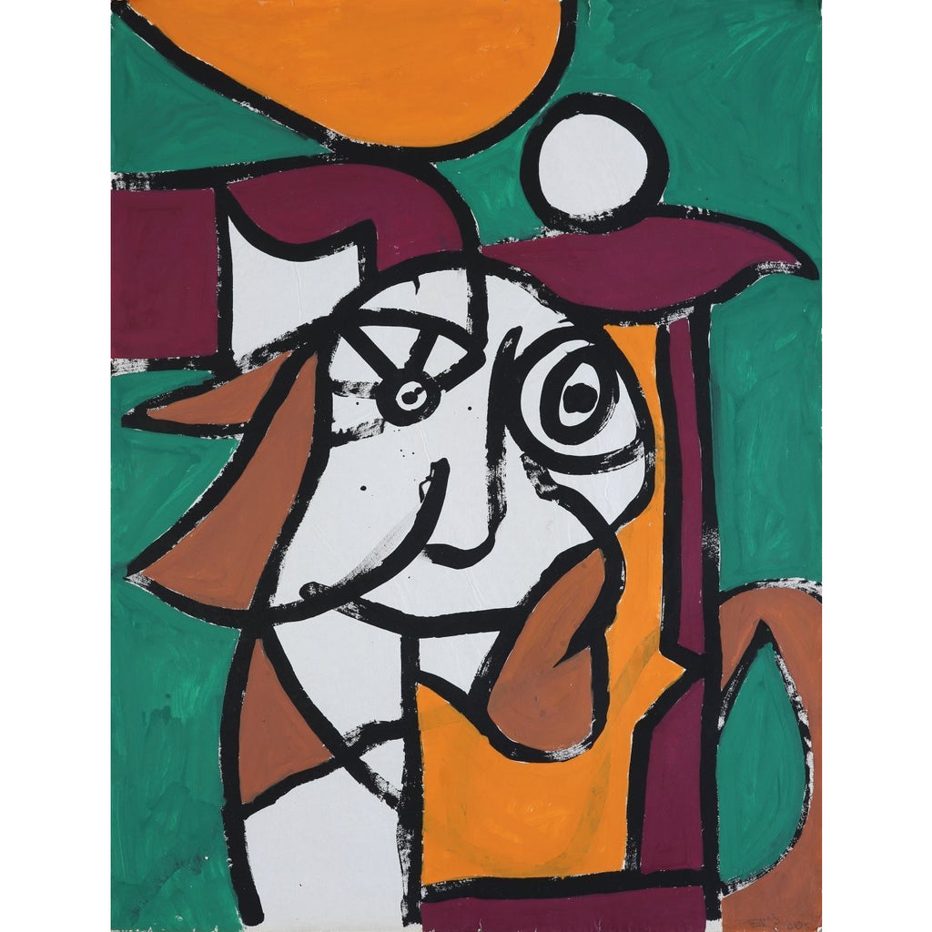 EN024P Cubist Head on Green c1960s by Enos Lovatt | Original Art by Enos Lovatt | Barewall Art Gallery
