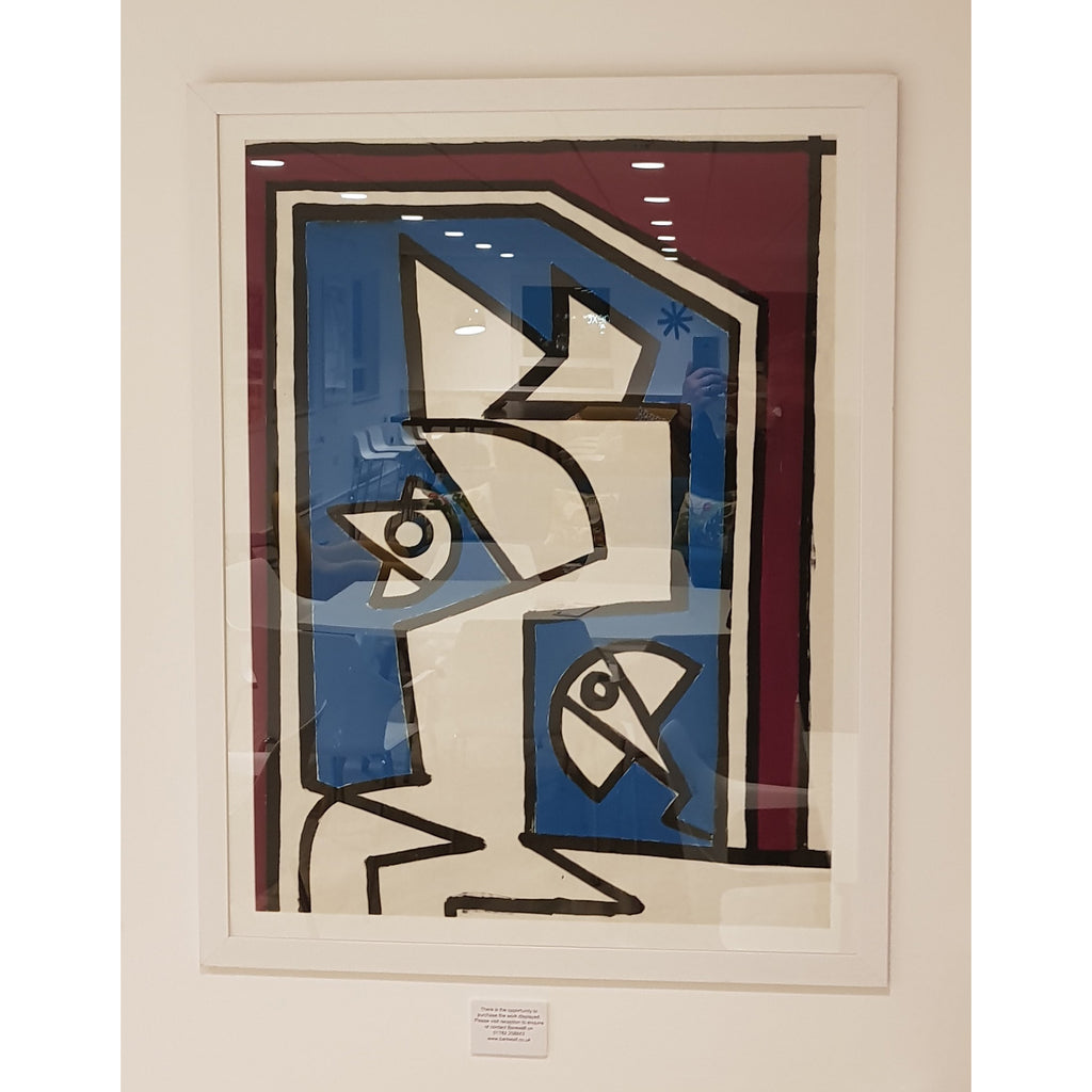 Enos Lovatt Original Art Framed EN027P Abstract Figure with Fish Tank c1960s by Enos Lovatt