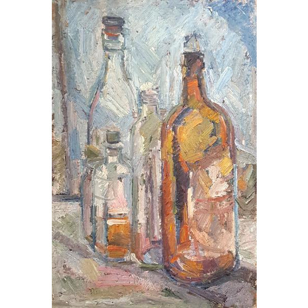 EN02Oil Still Life Bottles II c1950s by Enos Lovatt | Original Art by Enos Lovatt | Barewall Art Gallery