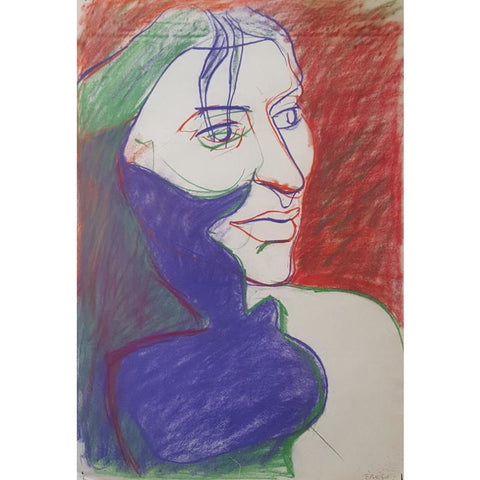 EN03P Head of Young Girl, Burslem on Paper by Enos Lovatt | Original Art by Enos Lovatt | Barewall Art Gallery