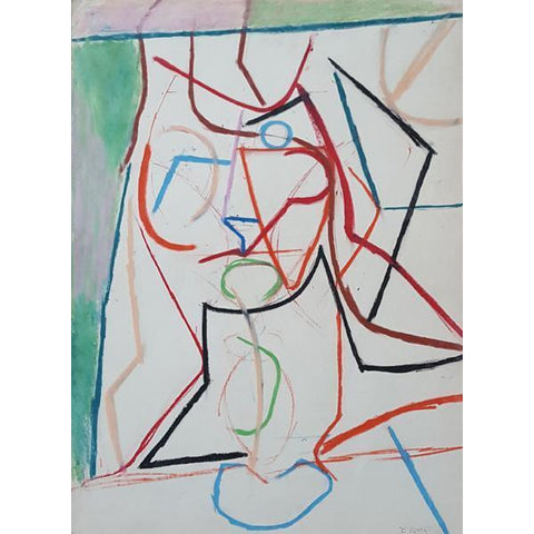 EN07P Linear Head of Young Girl on Paper by Enos Lovatt | Original Art by Enos Lovatt | Barewall Art Gallery