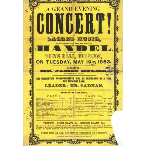 Frank Proudlove Collection Print A Grand Evening Concert of Sacred Music at Burslem Town Hall 1863 Canvas from The Frank Proudlove Collection