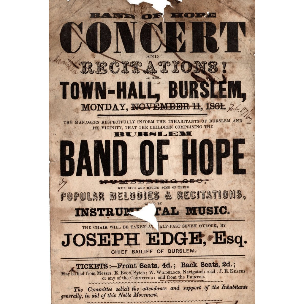 Frank Proudlove Collection Print Burslem Band of Hope Concert at Burslem Town Hall 1861 Canvas from Frank Proudlove Collection