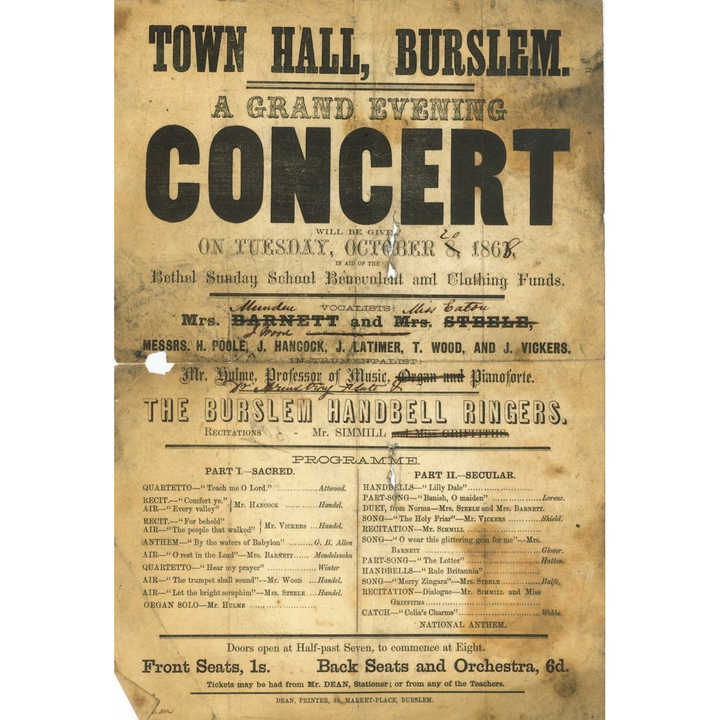 Frank Proudlove Collection Print Burslem Town Hall A Grand Concert 1868 Canvas from The Frank Proudlove Collection