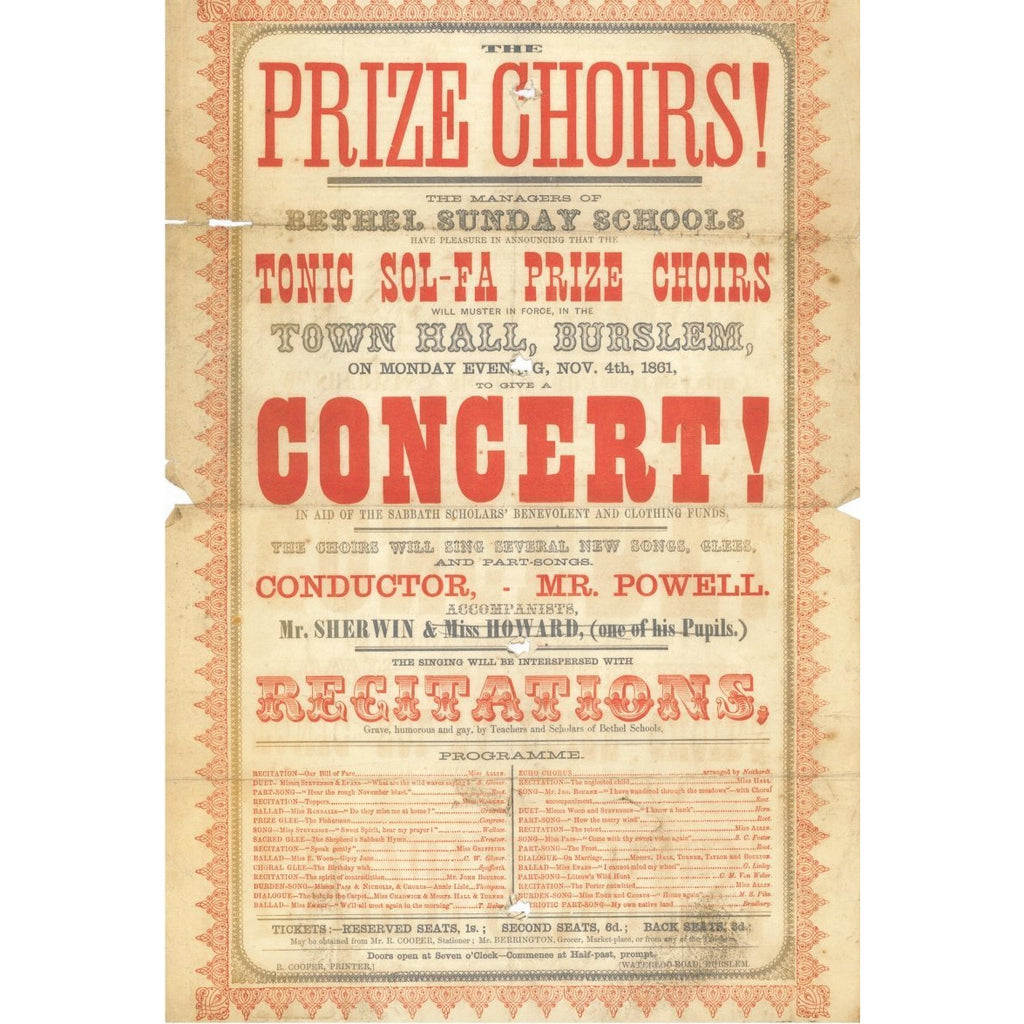Frank Proudlove Collection Print Tonic Sol-Fa Prize Choirs Concert at Burslem Town Hall 1861 Canvas from The Frank Proudlove Collection