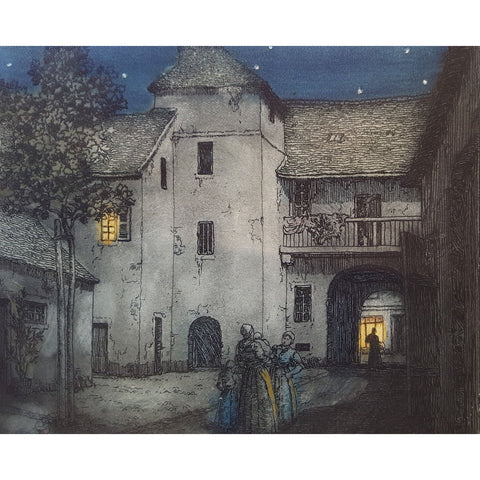 A Courtyard in Moret, France colour etching by Frederick Marriott | Etching by Frederick Marriott | Barewall Art Gallery
