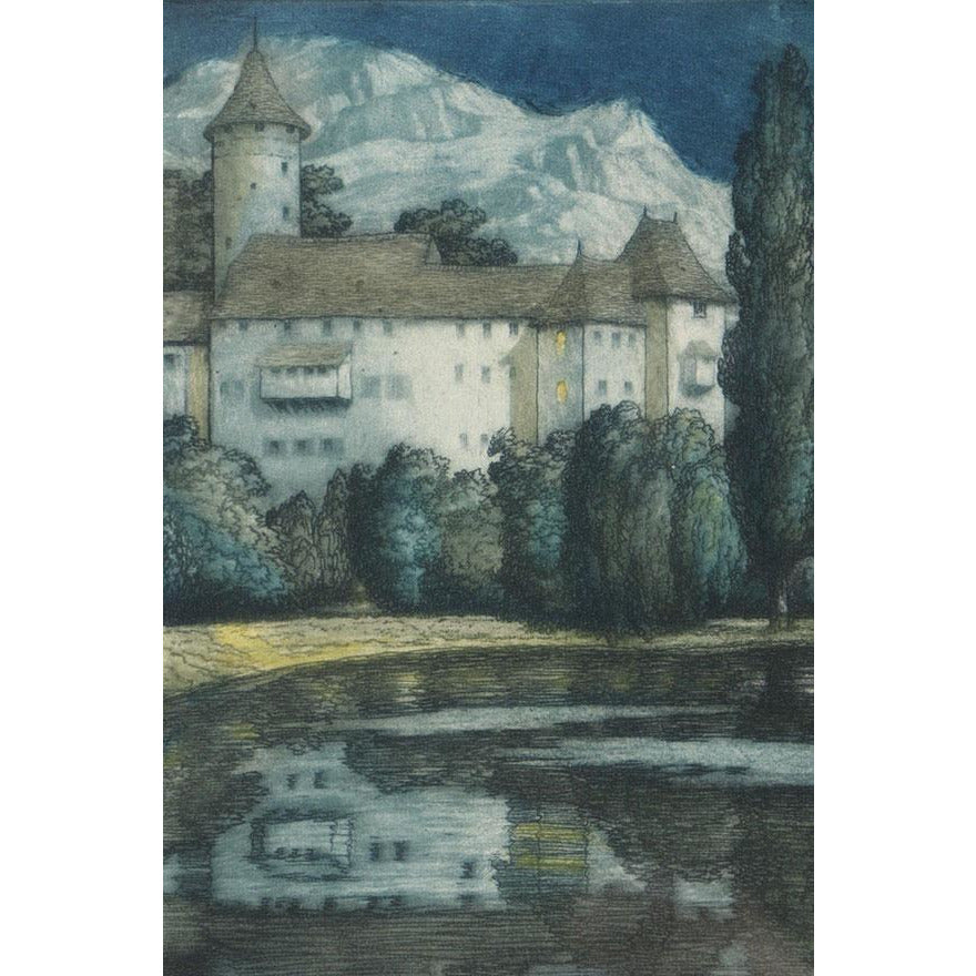 Alps by Moonlight, colour etching by Frederick Marriott | Etching by Frederick Marriott | Barewall Art Gallery