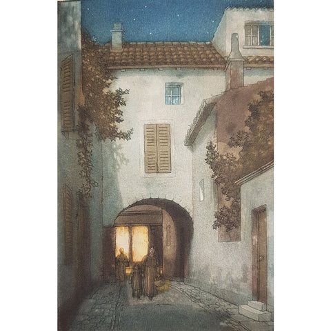 An Archway at Pernes, France colour etching by Frederick Marriott | Etching by Frederick Marriott | Barewall Art Gallery