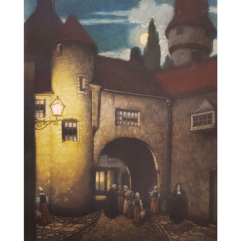 Bruges, Belgium colour etching by Frederick Marriott | Etching by Frederick Marriott | Barewall Art Gallery