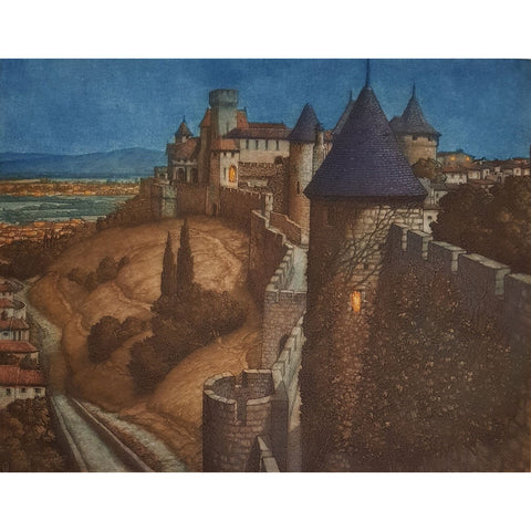Carcassonne, France colour etching by Frederick Marriott | Etching by Frederick Marriott | Barewall Art Gallery