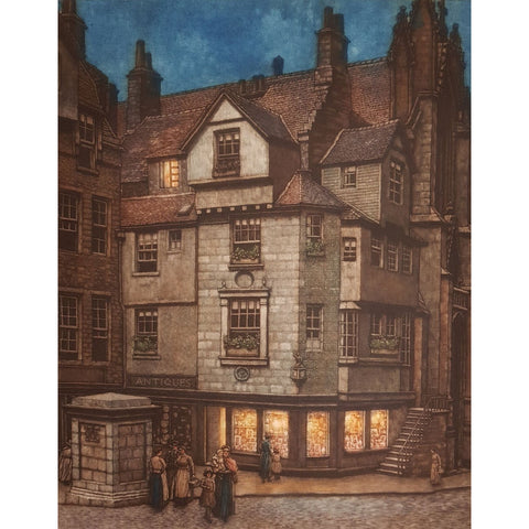 Edinburgh, John Knox House colour etching by Frederick Marriott | Etching by Frederick Marriott | Barewall Art Gallery